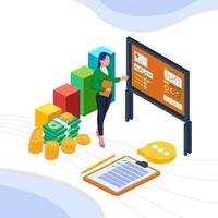 Geschäftsfrau erklärt Finanzinformationen vektor