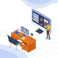 Mann im Videoanruf erklärt Unternehmenswachstum mit Infografik vektor