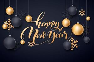 guld- och svart nyårsdesign med ornament