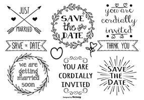 Söt handdragen stil äktenskap etiketter vektor