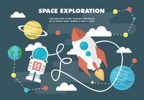 Gratis plattrymds vektor illustration med rymdskepp