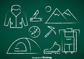 Bergsteiger Kreide Zeichnen Icons vektor