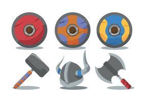 Wikinger Schild und Waffe Vektor Set
