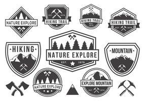 Gratis Mountain and Nature Badges Vector Svartvitt