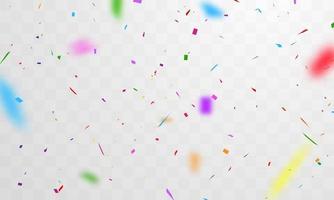 färgglada konfetti på transparent mönsterbakgrund vektor