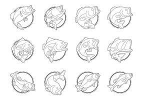 Forellenbarsch-Fisch-Logo-Vektor