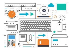 Free Flat Line Business und Marketing Vektor-Illustration