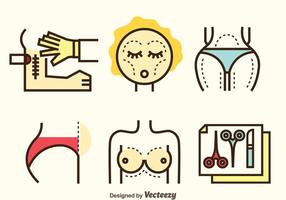 Plastische Chirurgie Icons Set vektor