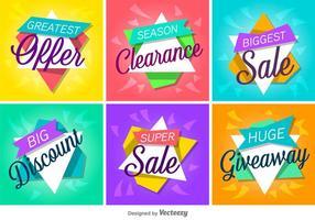 Försäljning och rabatt vektordiketter / banderoller