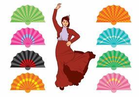 Spanska fläkt och dansare uppsättning vektor