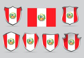 Vektor Set Sköld av Flagga Peru