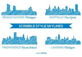 Gekritzel-Art-Stadt Skylines