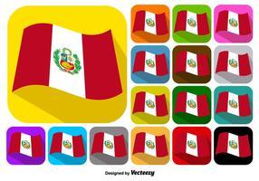 Vector Set Von Schaltflächen Von Peru Flagge