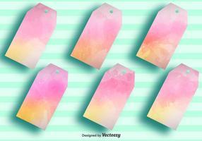 Vector Blank Watercolored Tag Etiketten - Set von 6