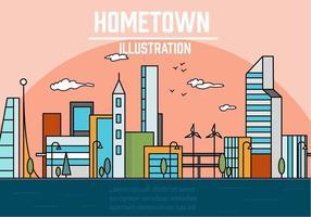 Gratis linjär stad vektor illustration