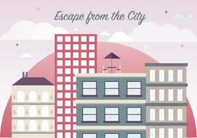Gratis Flat Cityscape Vector Illustration