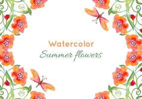 Gratis vektor vattenfärg vallmor bakgrund