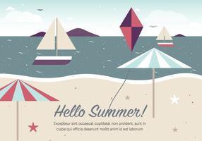 Gratis Vintage Summer Beach Vector Illustration