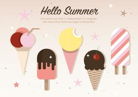 Gratis Flat Ice Cream Vector Illustration