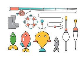 Vektor uppsättning av fiskeverktyg