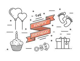 1. Geburtstag in Vektor
