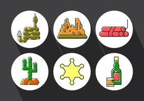 Set von wilden Westen Icons vektor