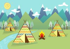 Tipi indian landskap bakgrund vektor