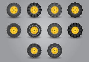 Traktor Däck Icon Set