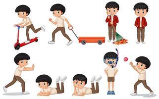 pojke som gör olika aktiviteter
