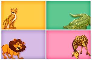vilda djur på färgbakgrunder