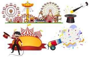 Zirkusschild und Themenparkszene