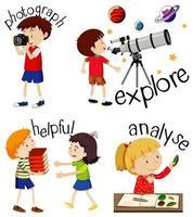 uppsättning barn som gör aktiviteter