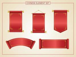 chinesische Schriftrolle mit roter Farbe im Papierschnittstil vektor