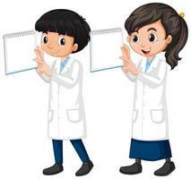 pojke och flicka i vetenskapsklänning