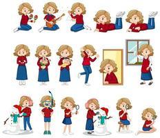 Satz von Mädchen, die Aktivitäten tun vektor