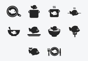 Fisch Fry Cook Icon Set vektor