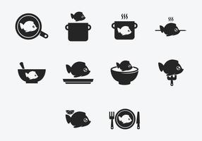 Fiskkokare kock ikonuppsättning vektor