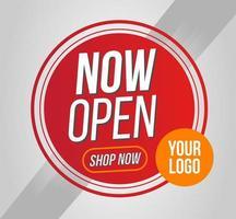 cirkulär nu öppen butik eller nytt butikskylt vektor