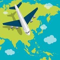 Flugzeug fliegt über Asien vektor
