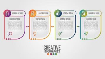 Infografik mit 4 abstrakten Formen mit Verlaufskonturen