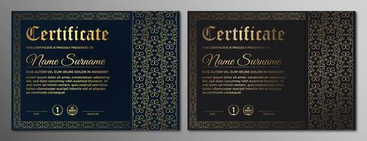 Dunkelblaues und braunes Zertifikat mit filigranem Muster