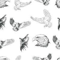 nahtloses Muster mit fliegenden Adlern und Adlerköpfen