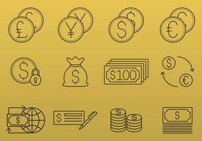 Pengar och valuta ikoner