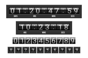Hochglanz-Countdown-Timer für die mechanische Anzeigetafel vektor