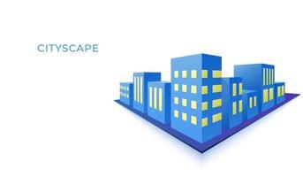 Stadsbild för byggnad 3d