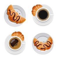 Tasse Kaffee und Croissant lokalisiert auf Hintergrund vektor