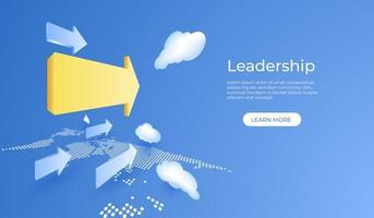 Führungskonzept mit gelbem Pfeil auf blauem Himmel vektor