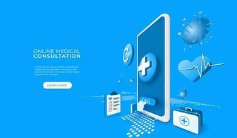online medicinsk konsultation via telefon eller surfplatta vektor