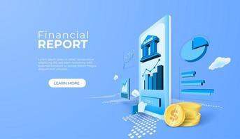 finansiell rapport banktjänst med mobilapp vektor
