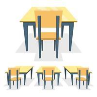 Schulbank isoliert auf weißem Hintergrund vektor